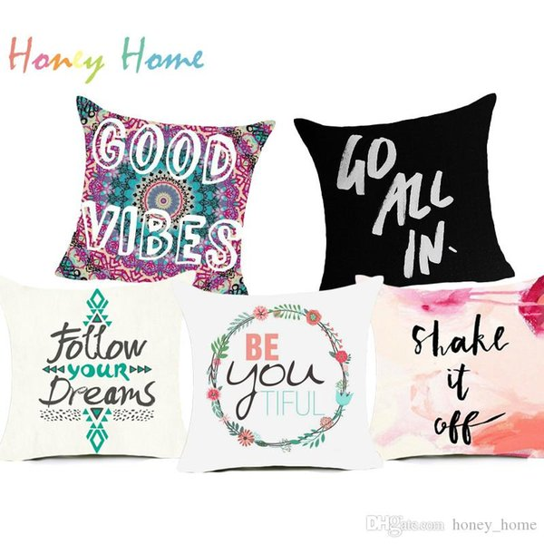 Proverb Letter Polyester Cushion Cover Funny Words Black And White Pillow Case Home Decorative Pillows Cover For Sofa Car