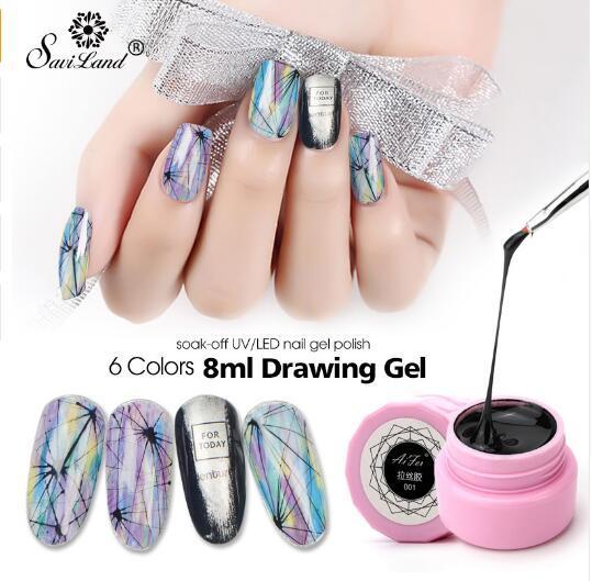 Saviland Wire Drawing Nail Gel Lacquer Painting Gel Varnish Pulling Silk Spider Creative Phototherapy Nail Art Gel Nail Polish