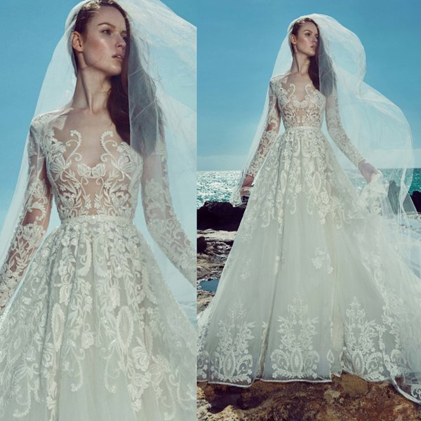 Sexy See Through Wedding Dresses Sheer Long Sleeves 2019 Zuhair Murad Dress A Line Lace Appliqued Sequins Beaded Ilusion Bodice Bridal Gowns
