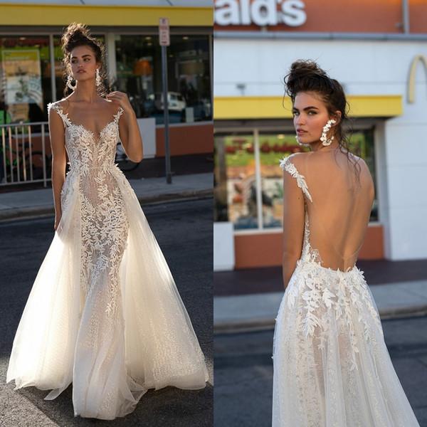 2019 Berta Backless Wedding Dresses Straps A Line Full Lace See Through Sheer Bridal Gowns abiti da sposa robe de mariee