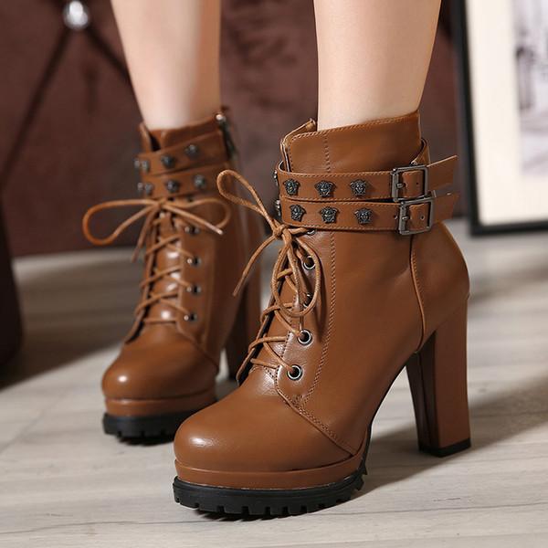 w- autumn and winter round head metal decorative waterproof platform with rivets belt buckle high heel thick heel women boots