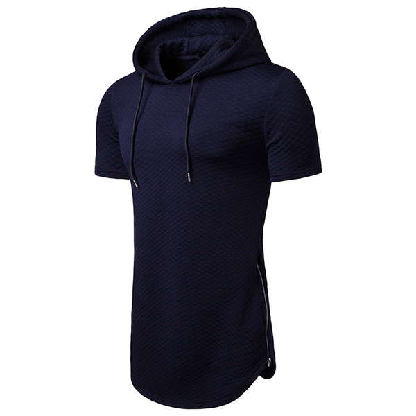 Top T-shirt hot sale 2019 hooded diamond shape long section summer men's T-shirt men's short-sleeved T-shirt fashion round neck men's casual