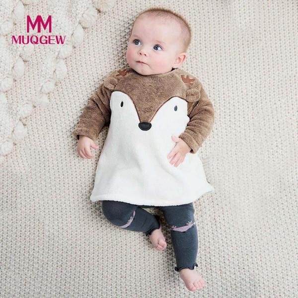 MUQGEW Cute Fox embroidery Newborn Infant Baby Girl Boy Fleece 3D Cartoon Sweatshirt Warm Long Sleeve Coats jacket Tops