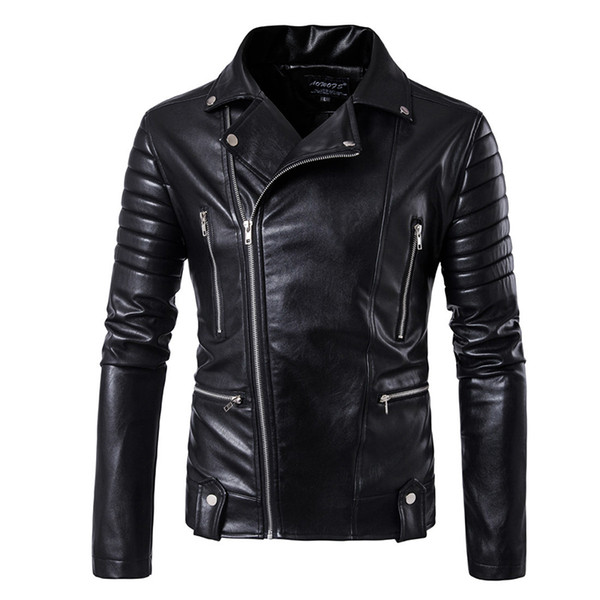 5XL puff sleeve business casual leather clothes New sale Fashion leather jacket Short Men jacket Classic