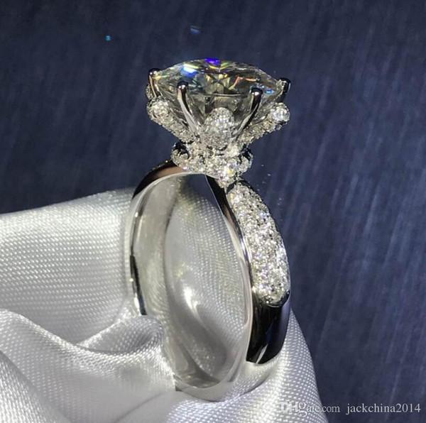 Joyería de lujo hecha a mano Victoria 925 plata esterlina corte redondo Topaz blanco CZ Diamond partido piedras preciosas mujeres compromiso anillo de la venda de la flor regalo