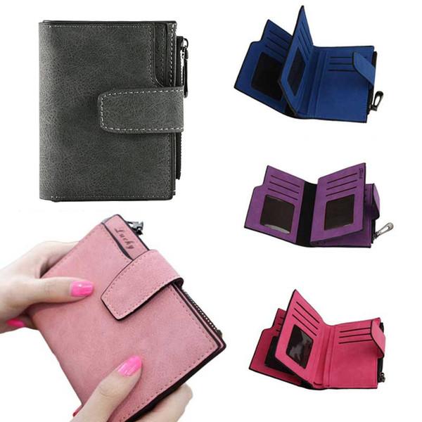 Women Purse Solid Color Mini Grind Magic Bifold Leather Wallet Card Holder Clutch Women Handbag carteras para mujer