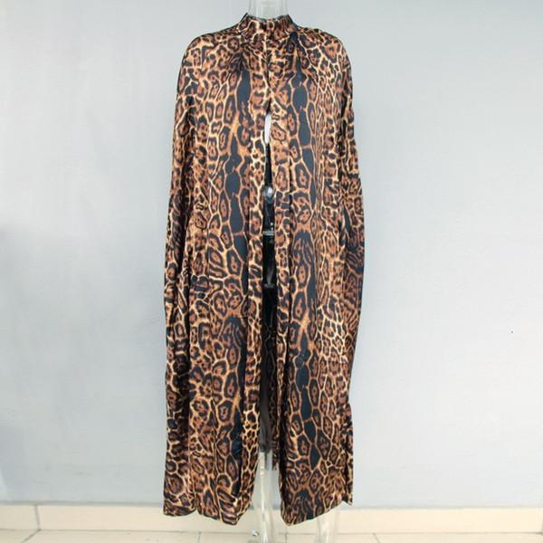 2020 nuevas mujeres del leopardo larga capa collar del soporte de la capa del vestido de las señoras de la Capes Loose Fit largo maxi del poncho Wraps Prendas de vestir exteriores del foso