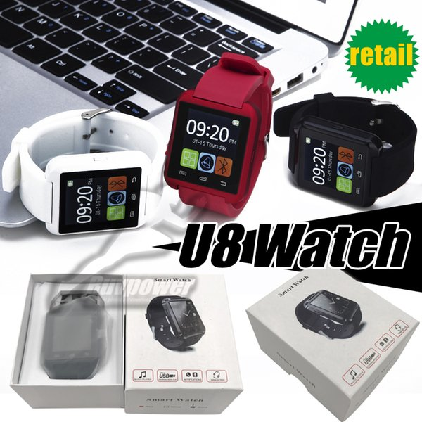 Bluetooth U8 Smart Watch Sleeping Monitor Touch Screen Wrist For iPhone IOS Samsung Android all cell Phone with Retail Box