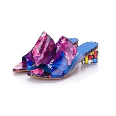 SZSGCN428-2019 marque grandes tailles 35-41 Coloré strass cristaux Talons Talons Peep Toe D'été Chaussures Femmes Sandales Pantoufles