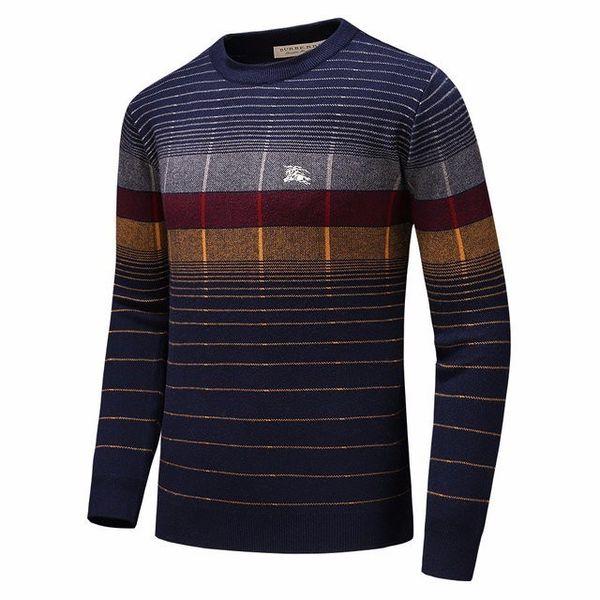 Otoño e invierno nuevos hombres suéter de manga larga jersey de cuello redondo a cuadros suéter informal Suéter de cachemira moda mantener caliente 713 19