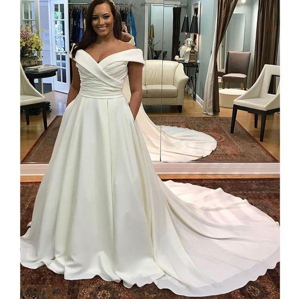 Off The Shoulder Plus Size Wedding Dress Boat Neck White Ivory Robe De Mariee Pleats Satin Zipper Back Bridal Dress Chapel Train 2019