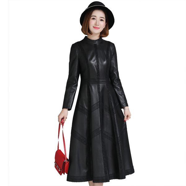 Luxus echtes echtes Schaffell Leder Wildleder Mantel Jacke einteiliges Kleid Frühling Herbst Frauen Oberbekleidung X-langes Kleidungsstück LF9024