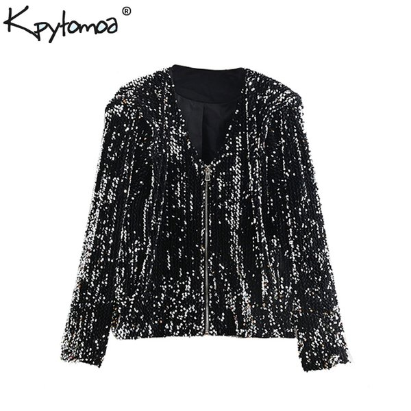 Vintage Pockets Sequined Jacket Coat Women 2018 Fashion V Neck Long Sleeve Zipper Ladies Outerwear Casual Casaco Femme Chic Tops