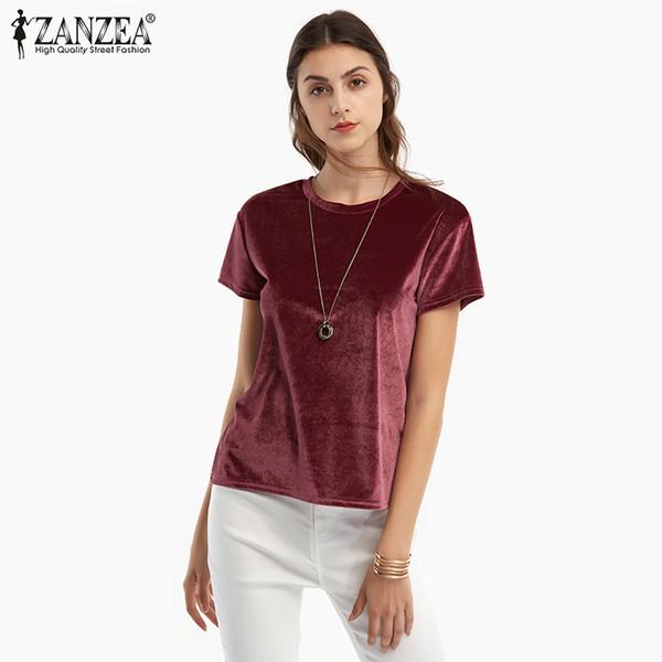 Zanzea 2019 New Fashion Women Summer Velvet T-shirt Ladies Casual Short Sleeve O Neck Solid T-shirts Women Tops Plus Size S-5xl Y19051301