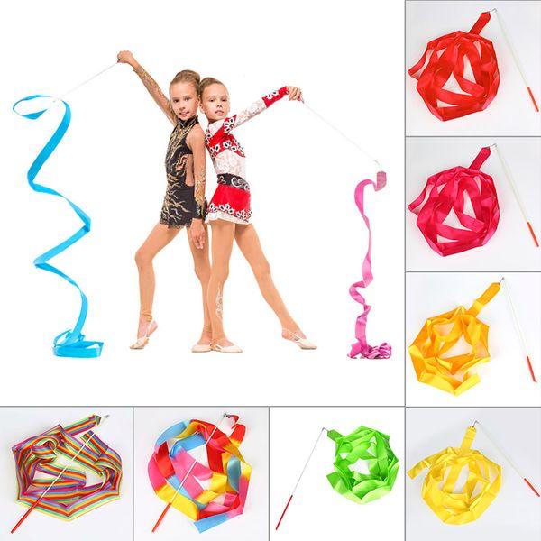 4 M Gym Dance Lint Ritmische Gymnastiek Kunst Ballet Streamer Twirling Rod Stick Per allenamento in palestra BB55