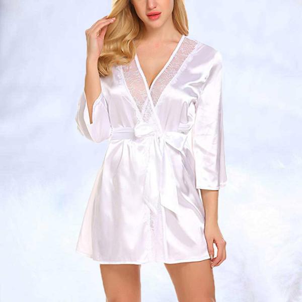 Пижамы дамы кружева обернуть атласный шелк 2019 женщины шелковые сексуальные халаты костюм пижамы пижамы белье ночная рубашка пижама