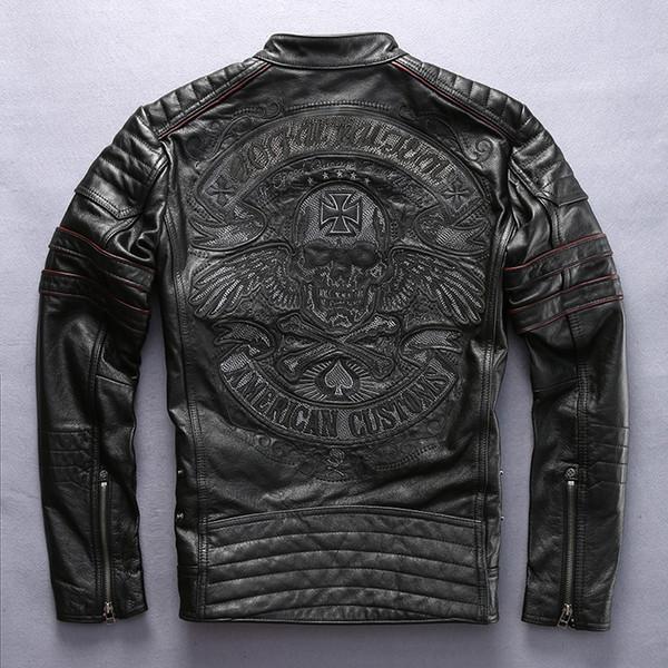 Factory 2018 New Men Retro Vintage Leather Biker Jacket Embroidery Skull Pattern Black Slim Fit Men Winter Motorcycle Coat