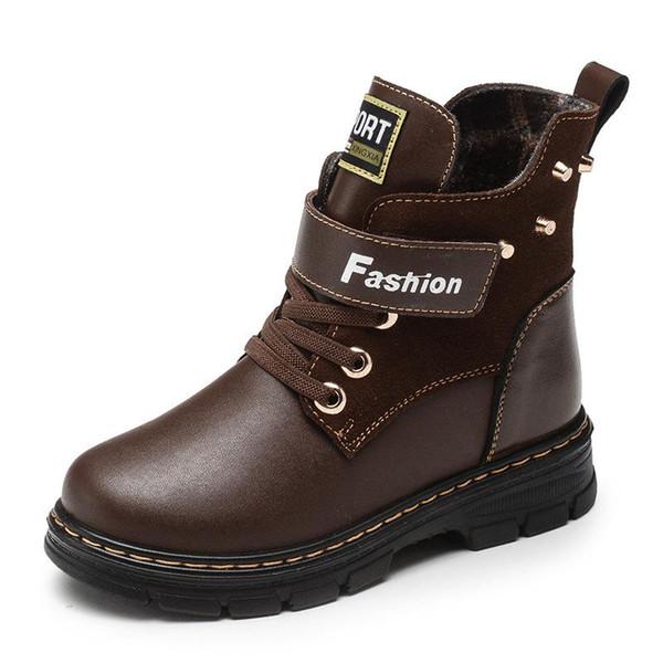 Bottes Martin pour garçons hiver d'enfants en cuir véritable peluche Bottes de neige Garçons Marche Loisirs de plein air cheville Casual Shoes Taille 26-39