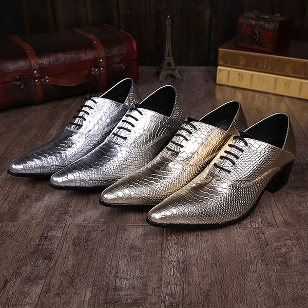 Snake grain silver men's tie the laces that toe wedding shoes low heel dress shoes real leather Oxford business plus size men