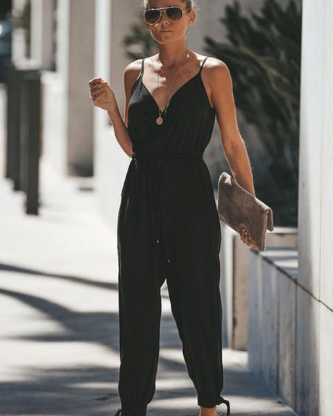 Las mujeres del verano de los mamelucos mujeres de la manera floja ocasional completas mamelucos longitud Pantalones camisetas Pantalones de gran tamaño S-3XL