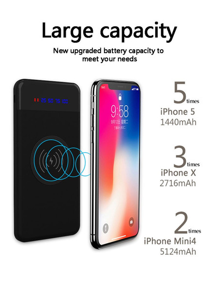 Slim Wireless power bank Portable Ultra-thin Wireless charger Powerbank battery power bank for xiaomi iphone x xr