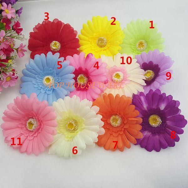 100pcs 10colors 10cm Artificial Simulation fake fabric African Daisy Flower Heads Diy Brooch Headwear Ring Decorative wedding flower