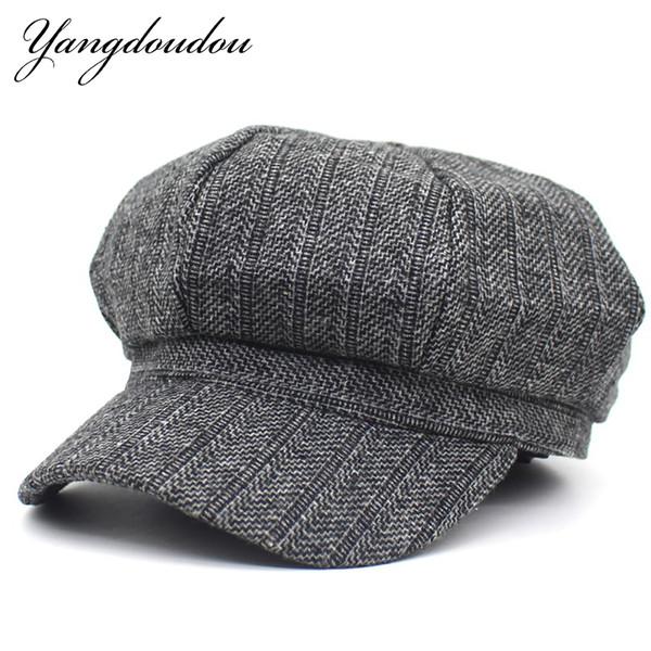 Yangdoudou Yeni Marka Unisex Sekizgen Kap Ekose Retro Düz Kapaklar Vintage Newsboys Şapka İngiliz Tarzı Ressam Şapka