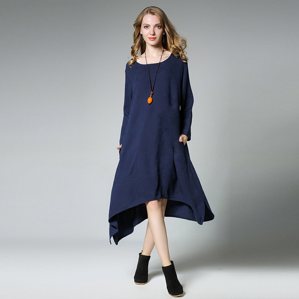 2019MM Women Plus Size Dress Easy Flax Irregular Dress Big Size Halter  Dress Blue Dresses From Weiyongqin, $26.64| DHgate.Com