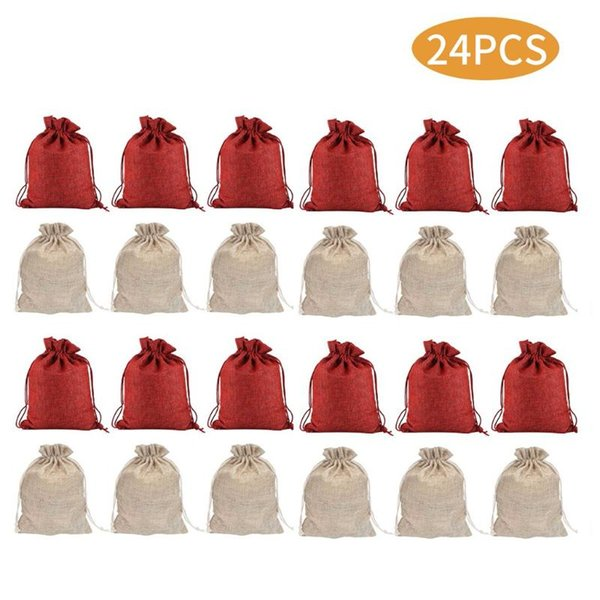 1pc Christmas bag Linen Jute Sack Pouch Drawstring Gift Bags Super