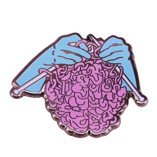Hand knit pin crochet and yarn brooch craft art badge creative knitters flair gift
