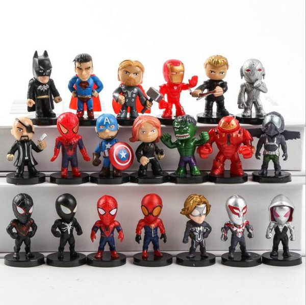 Marvel Figure Set Человек-паук Бэтмен Халк Железный человек Супермен мини фигурки черный яд Человек-Паук маленькие фигурки Flevans игрушка