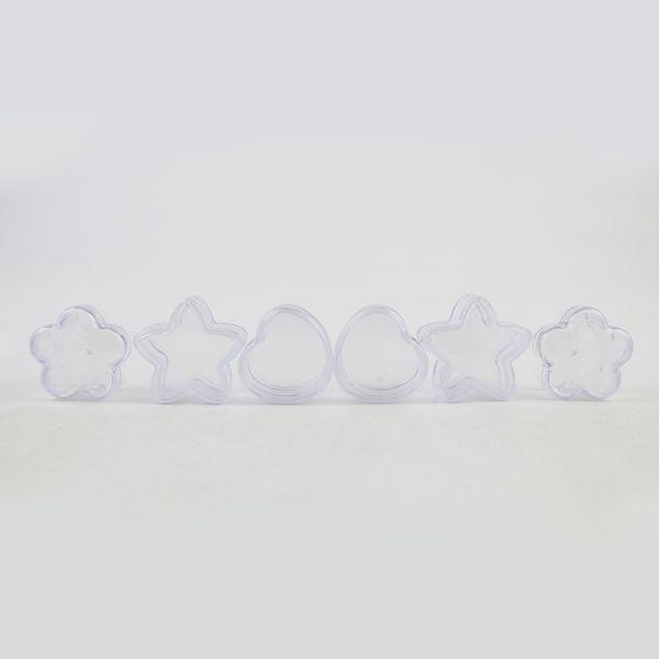 360 x 5g vasetti di plastica portatile di piccole stelle / fiore / scatola di forma di cuore Contenitori cosmetici di trucco Trasparente Jar crema da viaggio
