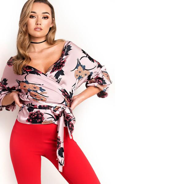 New Fashion Hot sale Women Boho beach Holiday Floral Print V neck Sexy Satin Tops Ladies Bandage Femme Pretty Elegant Blouse