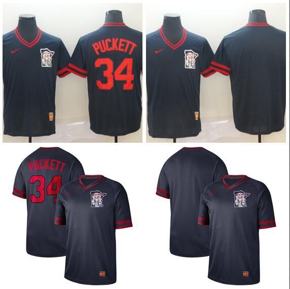 2019 Hot Style Men Women Youth Twins 34 Puckett Retro Cooperstown Batting Practice Baseball Jersey
