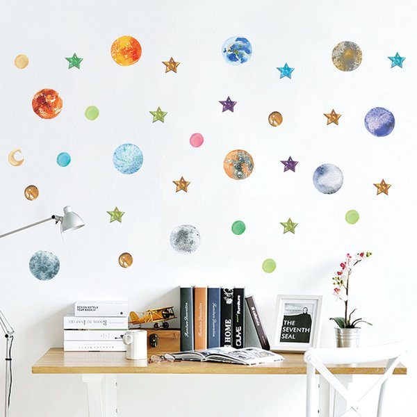 Cartoon Planet Wall Decor Universe Planet Wall Stickers for Kids Room Bedroom Home Decor Stars Poster Mural Wallpaper Wall Decal