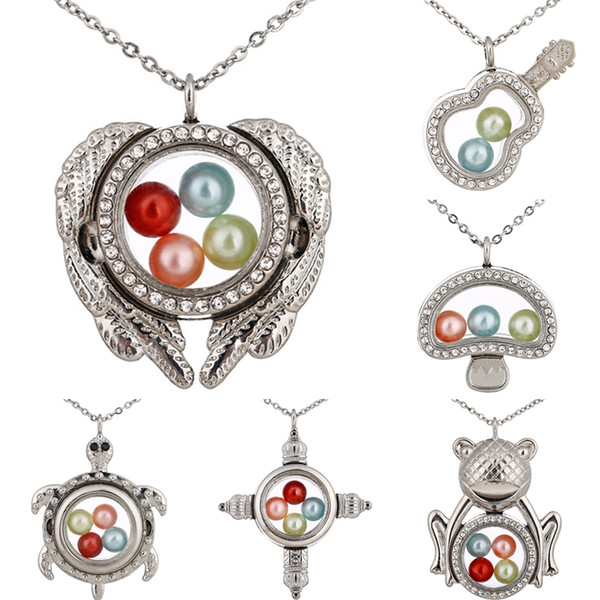 Silber Engelsflügel Gitarre Meeresschildkröten Speicher 8mm Perle Perlen Magnetglas Schwimm Medaillon Anhänger Halskette Perle Käfig Medaillon