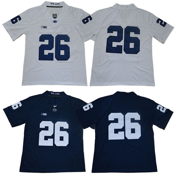 Jerseys de fútbol Penn State Nittany Lions de la universidad blanco azul # 26 Saquon Barkley tamaño adulto camiseta de fútbol cosida envío gratis