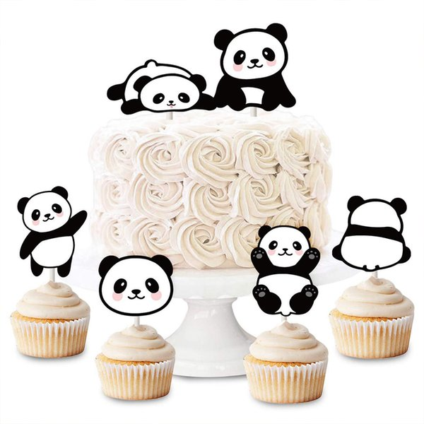48pcs Cute Panda Shaped Cake Topper Paper Cupcake Toppers Wedding Kids Birthday Baby Shower Party Favors Fruit Picks Toothpick