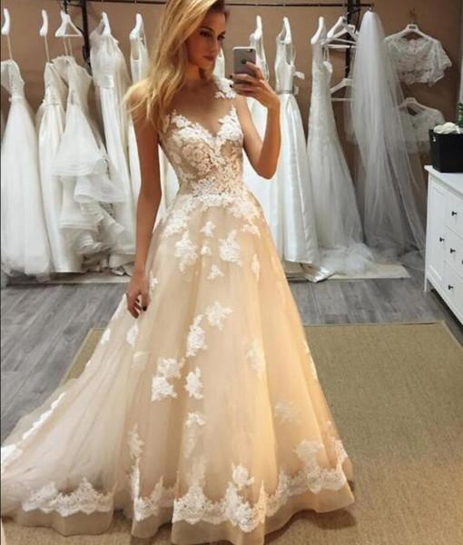 Mariage magnifique dentelle transparente robes légères Champange Tulle Applique balayage train sur mesure plage robes de mariée avec Illusion Corsage