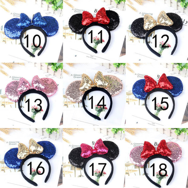 Children Cute Mouse Sequin Crown Ears Hairband With Sequin Hair Bow Kids girls Bling Glitter Hair Bands Holiday Hair Accessories A01