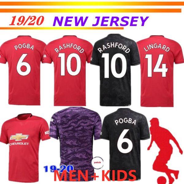 Top thailand POGBA LINGARD 19 20 футбол манчестер юнайтед юнайтед юнайтед 2019 2020 комплект футболки RASHFORD майка BISSAKA мужские и детские комплекты