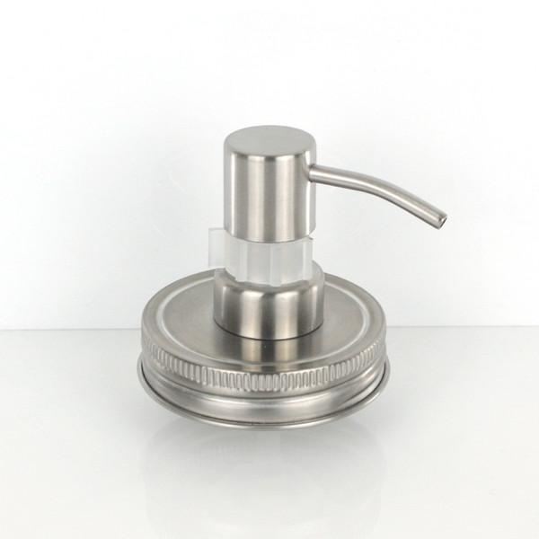 Dispensador Jabón de acero inoxidable Jabón líquido Mason Jar (tarro no incluido) Tapa de vidrio Venta al por mayor Matt Silver Loción Bomba Con Clip Lock