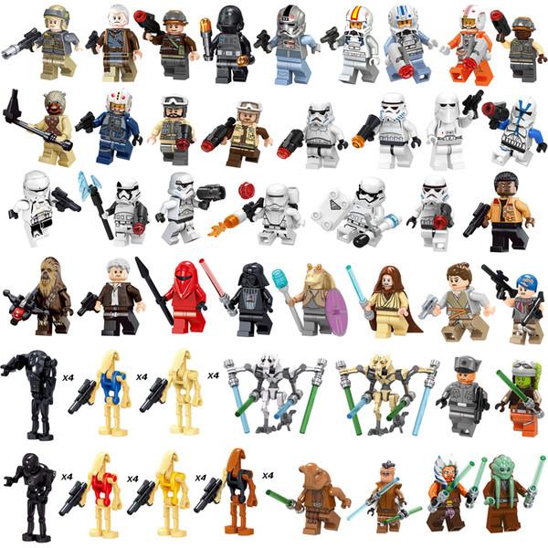 68 uds guerra espacial Chewbacca Darth Vader Stormtrooper Finn General Grievous Maestro Jedi Obi Wan Lucas Mini figura de acción de bloques de creación de juguetes