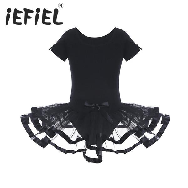 iEFiEL Cute Kids Children Girls Mesh Ballet Dance Gymnastics Leotard Tutu Dress Girls Ballerina Fairy Costumes with Bowknots