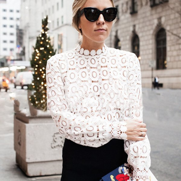 Damen Designer Tops Blusen für Frauen-eleganter Spitzenbluse Damen Weiße Bluse, Frühling, Sommer aushöhlen Tops Bluse Blusas
