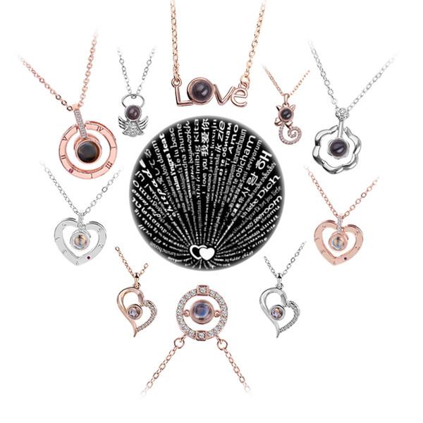 Rose Gold Silber Projektion 100 Sprachen Ich liebe dich Halskette für Frauen Liebesgedächtnis Hochzeit Halskette Romantisches Geschenk für Liebhaber