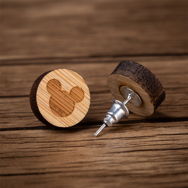 yiustar Earrings Woman Cartoon Mouse Stud Earrings Fashion Animal Wooden Studs Earring Statement Ear Jewelry