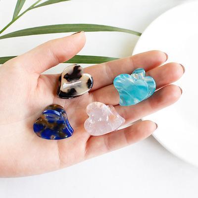 Women Mini Heart Shape Hair Claw Girls Children Acrylic Hairpins Barrettes Marble Geometric Hair Claw Clip
