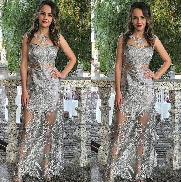 ziad nakad 2019 무도회 깎아 지른듯한 은색 레이스 아플리케 특별한 패턴 디자인 공식적인 파티 드레스 아랍어 사우디 이브닝 가운 저렴한
