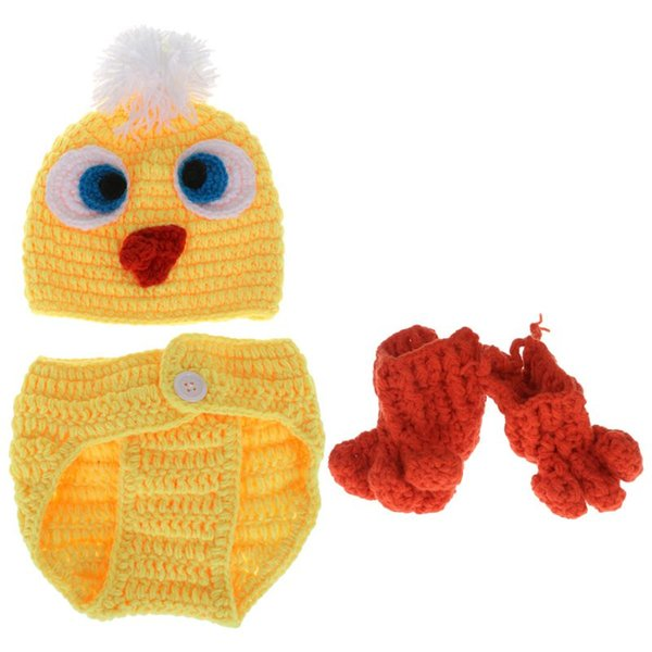 1 Satz Baby Kostüm Hut Hose Socken gestrickt Woolen Neugeborenen Fotografie Lustige gelbe Ente Nette Cosplay Kleidung Requisiten Cap Beani